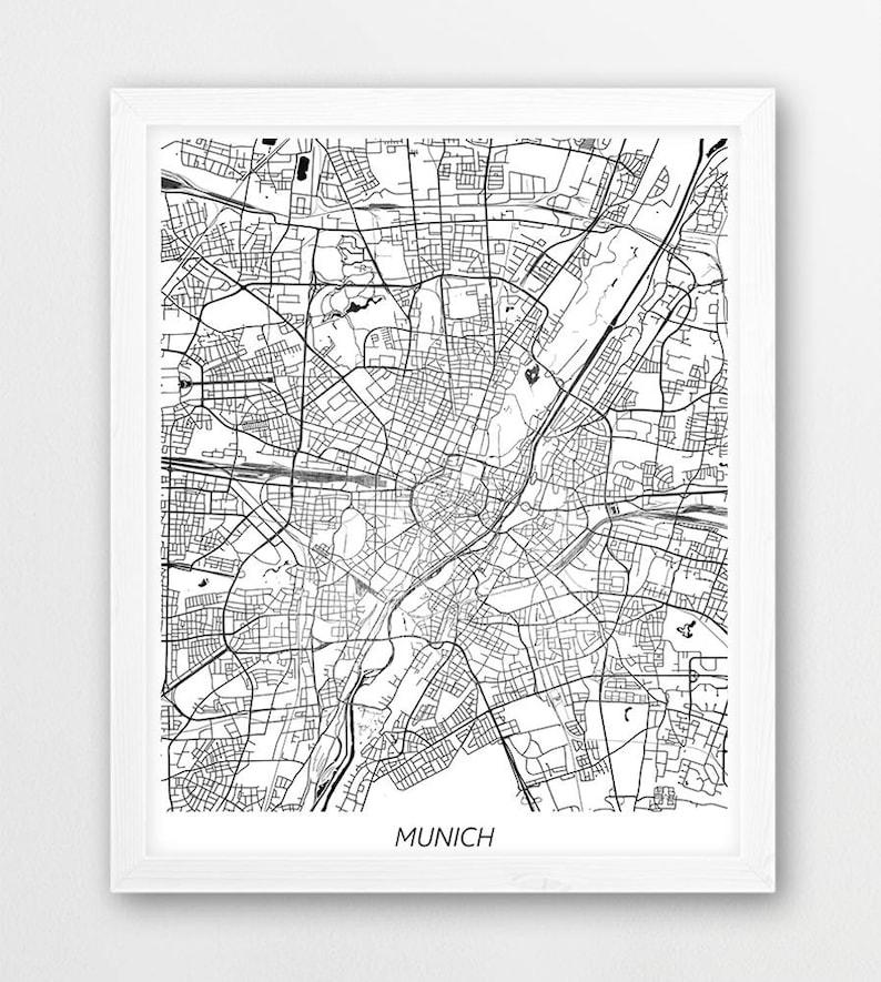 Munich Map Print Munich City Poster Print Munich Germany | Etsy