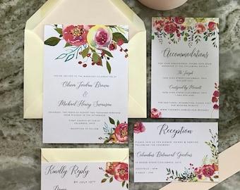Olivia - Vibrant Floral Wedding Invitation (Ivory)