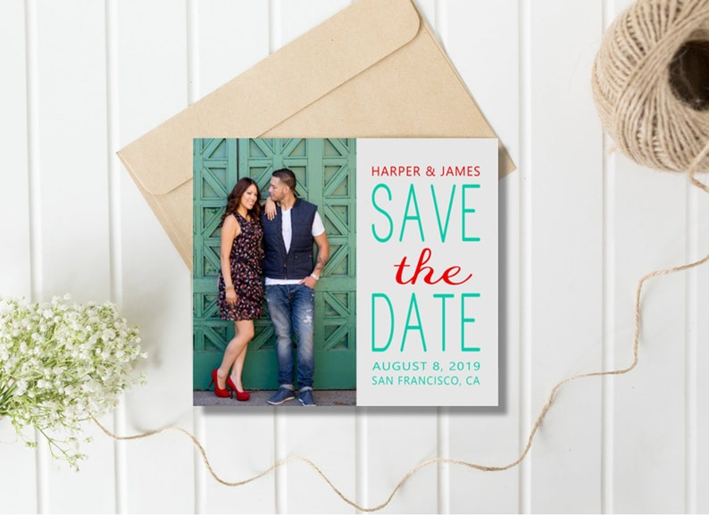 Photo Save the Date Wedding Magnet Rustic; Boho Chic; Destination Wedding; Save Our Date; Change of Date