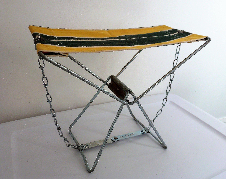 Remarkable Vintage Canvas Aluminum Folding Fishing Or Camping Stool Ibusinesslaw Wood Chair Design Ideas Ibusinesslaworg