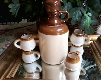 Pottery Cider Jug and Mugs