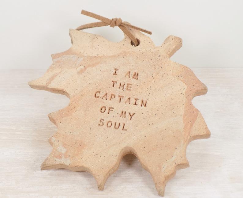 Hanging Leaf Tile William Ernest Henley I Am The Captain Of My Soul Motivation Gift Inspiration Gift Nature Art Nelson Mandela