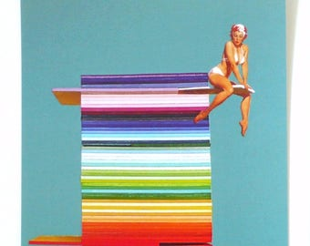 Pinup Postcards, Pin Up Girl on Diving Board, Gil Elvgren Pin Up on Paul Smith Style Stripes, Pinup Notecards