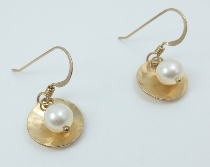 Gold Disc Earrings with Stone or Pearl - 1/2 inch