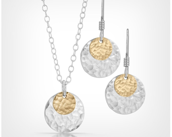 Sterling Silver and 14k Gold Fill Disc Necklace and Earrings Set