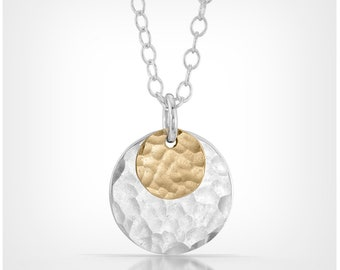 Sterling Silver and 14k Gold Fill Disc Necklace