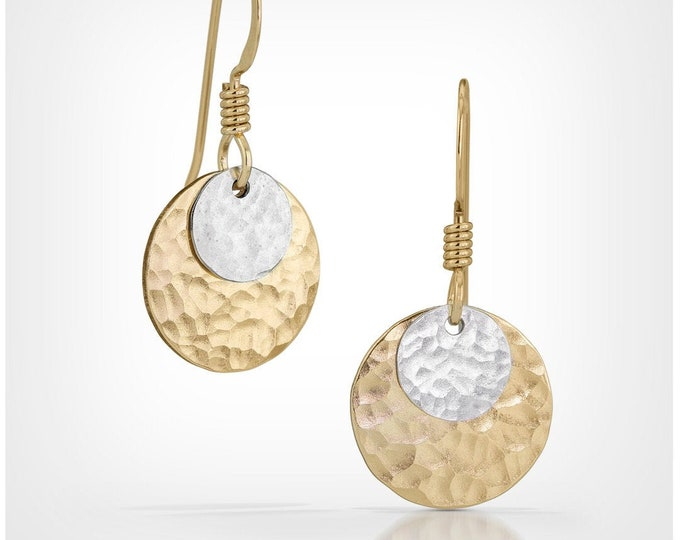 Gold and Silver Mixed Metal Disc Earrings