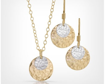 14k Gold Fill and Sterling Silver Disc Necklace and Earrings Set