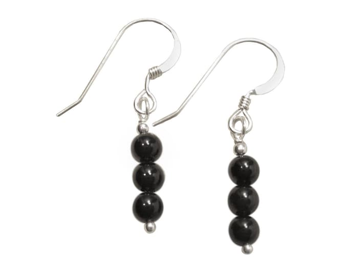Triple Stacked 4 mm Black Onyx Earrings