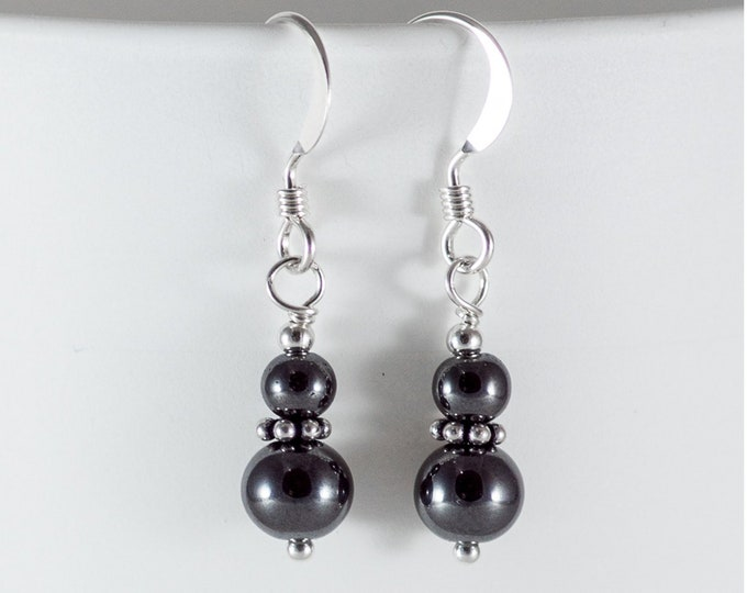 Hematite Earrings - 4 and 6 mm - Stacked Earrings
