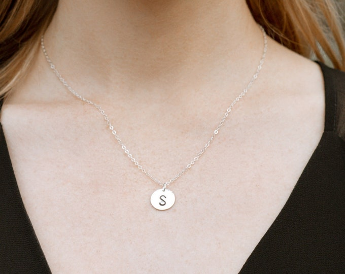 Initial Circle Charm Necklace