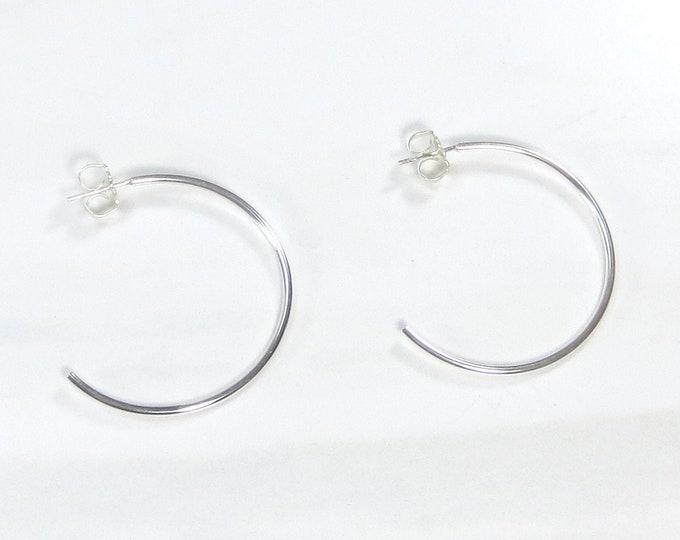 Silver Premium Simple Post Hoop Earrings