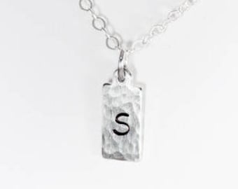 Rectangle Initial Charm Necklace