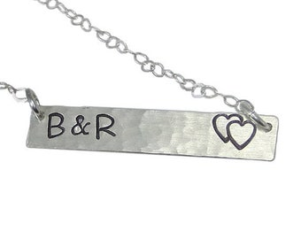 Initial Bar Necklace - Double Heart