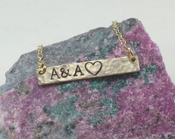 Heart Initial Bar Necklace