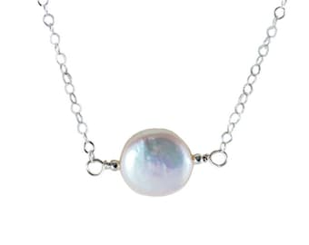 L'amour Necklace - White Fresh Water Coin Pearl