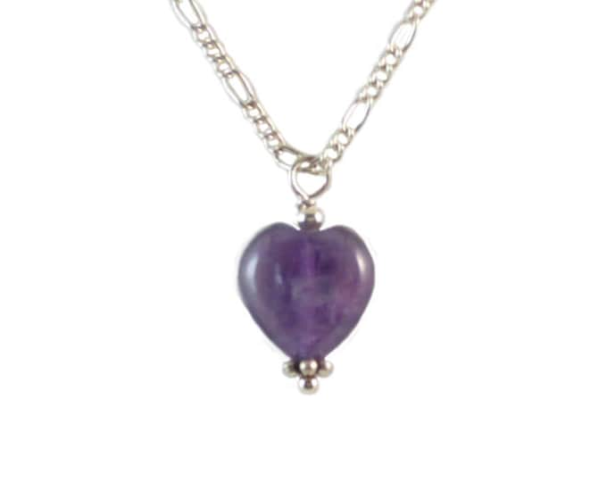 Purple Necklace - Amethyst Necklace - Heart Necklace - Heart Charm - Purple Necklace - Gifts Under 10 - Valentine's Gift