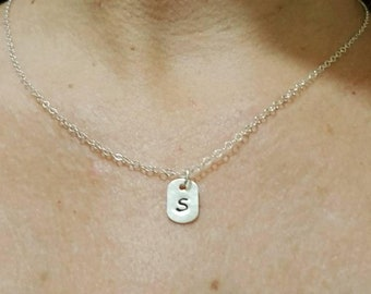 Dog Tag Initial Charm Necklace