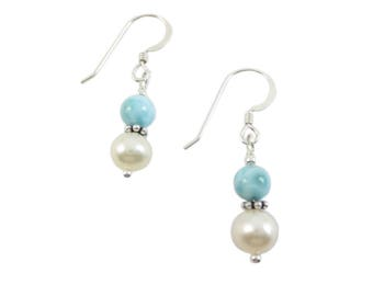 Larimar  & Pearl Earrings - 5mm Stacked on 6 mm Fresh Water Pearl