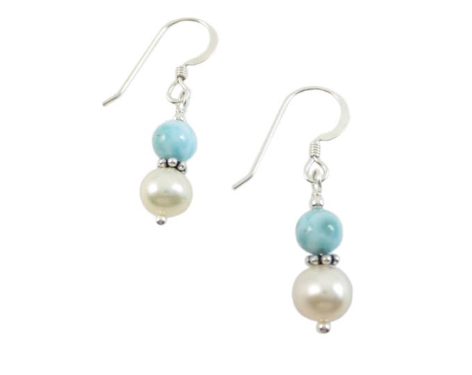 Larimar  & Pearl Earrings - 5mm Stacked on 6 mm Fresh Water Pearl