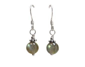 Labradorite Earrings - Bridesmaids Earrings - Bridal Earrings - Crystal Earrings - Bead Earrings - Dangle Earrings - Valentine's Gift