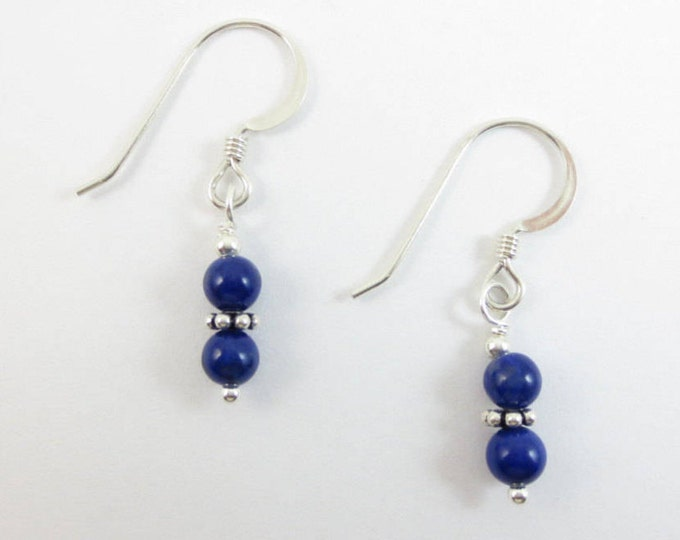 4 mm Stacked Lapis Lazuli Bead Earrings