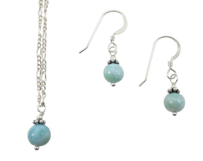 Larimar Pendant & Earrings - 6mm
