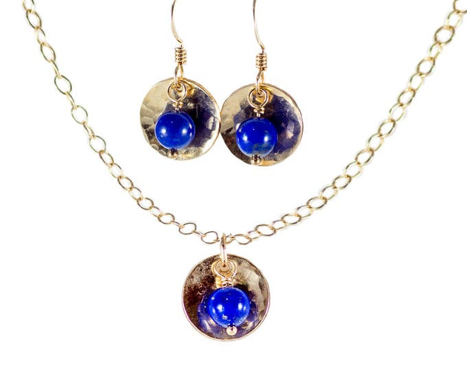 14k Gold Fill Domed Disc With Bead Necklace & Earrings