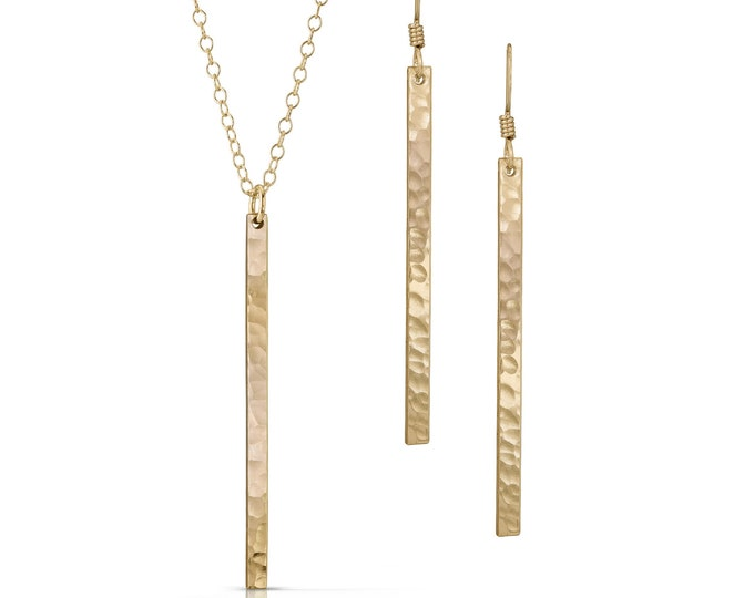 Skinny Bar Jewelry - Skinny Gold Bar Jewelry - Gold Bar Necklace - Gold Bar Earrings - Minimalist Gold Jewelry - Gold Wedding Jewelry