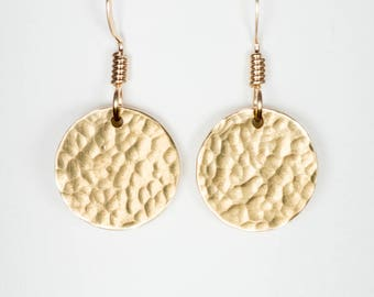 14k Gold Fill Disc Earrings - 1/2 inch