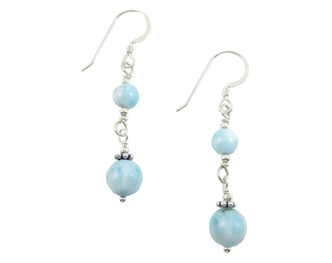 Articulated 5 & 7 mm Larimar Earrings