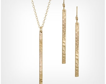 Gold Skinny Bar Necklace & Earrings