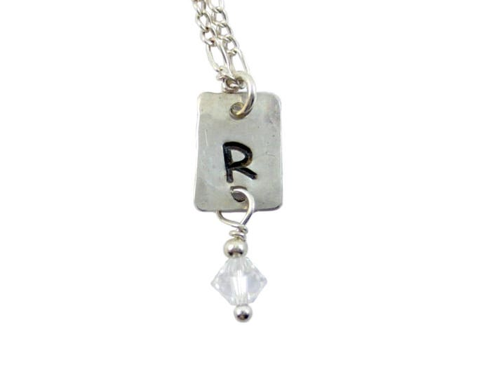 Initial Charm Necklace with Swarovski Crystal Drop