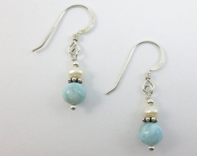 Larimar Earrings - 4 mm FWP stacked on 6 mm