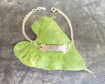 Pet Memorial Name Bone Bracelet