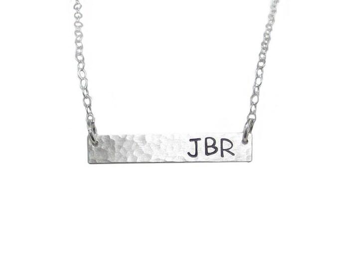 Bar Necklace - 3 Initials