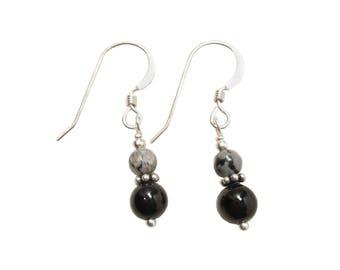 Snowflake Obsidian on Black Onyx Earrings