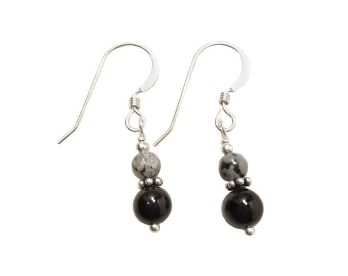 Snowflake Obsidian on Black Onyx Earrings