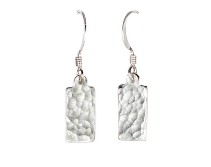 Sterling Silver Hammered Rectangle Earrings