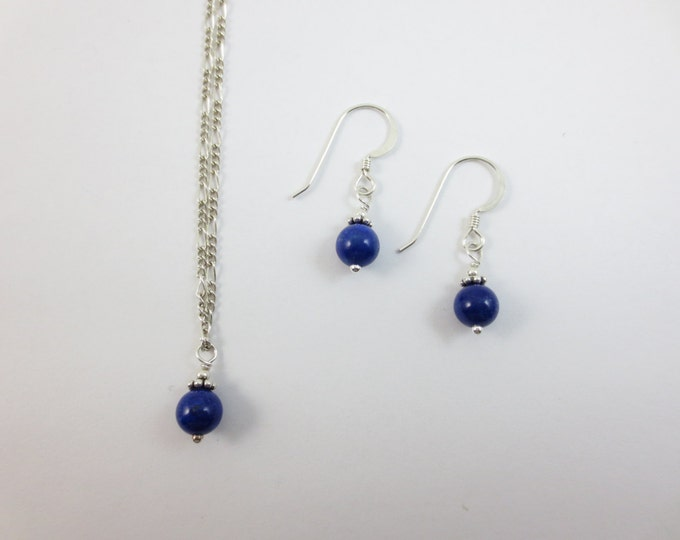 Lapis Lazuli 6 mm Drop Jewelry Set on Sterling Silver or 14k Golf Fill