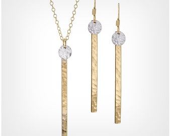 Dot Skinny Bar With Disc Necklace & Earrings