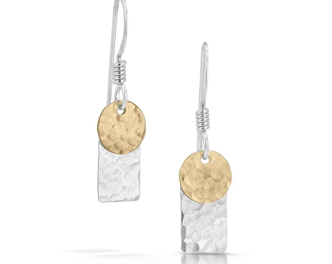 Dot Rectangle Bar With Disc Earrings