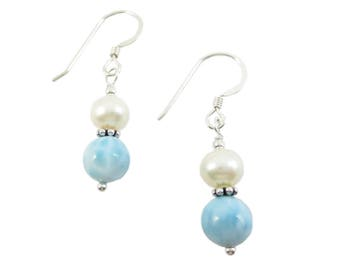 Larimar & Pearl Earrings