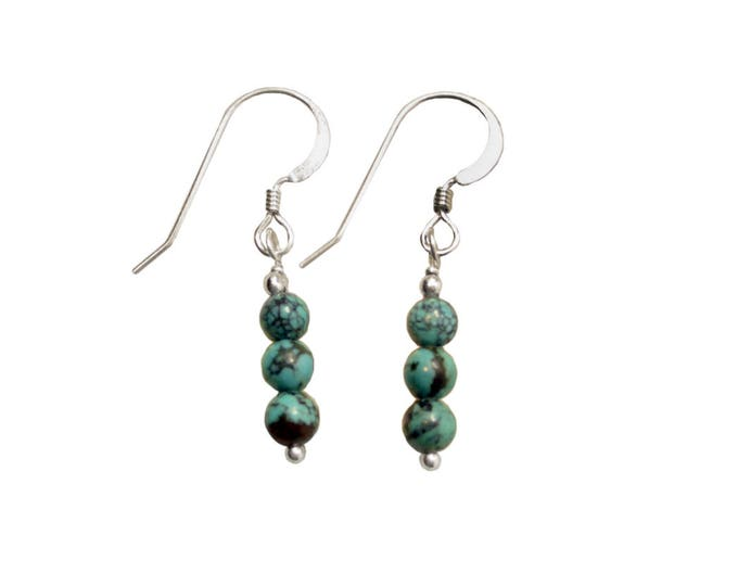 Turquoise Earrings - 4mm Triple Stacked