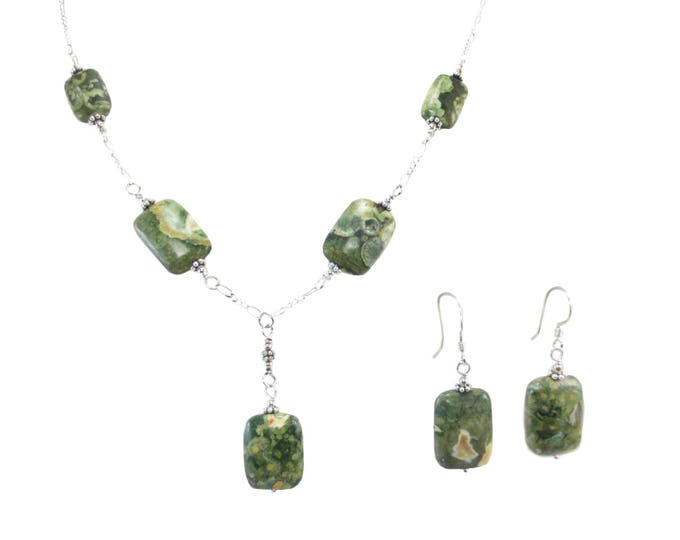 Rain Forest Jasper Large Rectangle Necklace & Earrings Set
