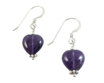 8 mm Amethyst Heart Drop Earrings on Sterling Silver or 14k Gold Fill - Valentine's Gift