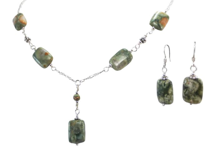 Rain Forest Jasper - Small Rectangle Necklace & Earrings
