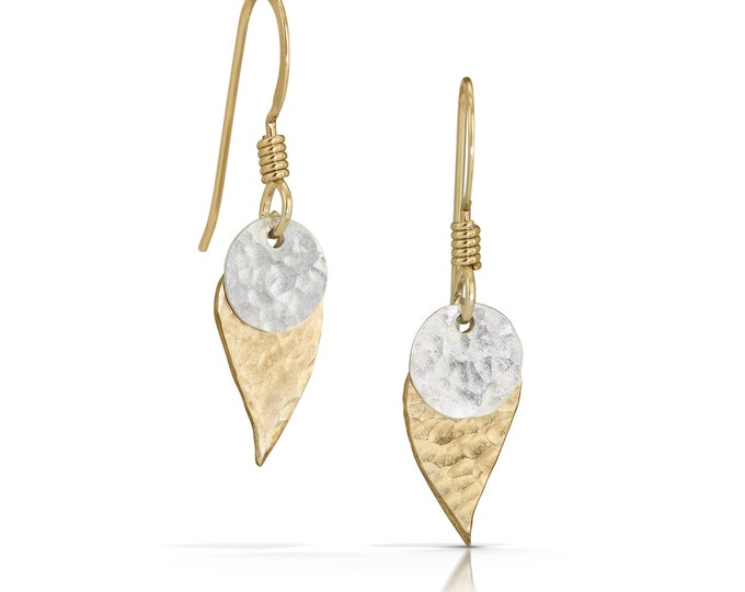 Dot Gold Leaf Earrings with Silver Disc