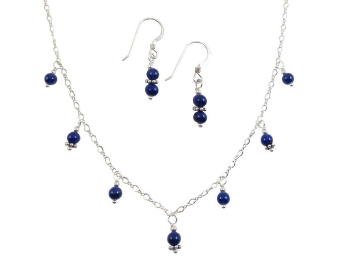 Dainty 4 mm Blue Beaded Lapis Lazuli 7 Drop Necklace & Earrings Jewelry Set