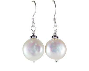 White Fresh Water Pearl Earrings - Coin Shape